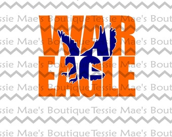 SVG, DXF, EPS, War Eagle Knockout, Auburn, Knockout, TessieMaes, Silhouette, Cricut, Scrapbooking, Tigers, Sports