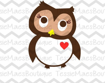 Owl with Heart, SVG, EPS, DXF, Png, Instant Download, Valentine's Design, Shirt, Heart, TessieMaes, Silhouette, Cricut, Printable, Cuttable