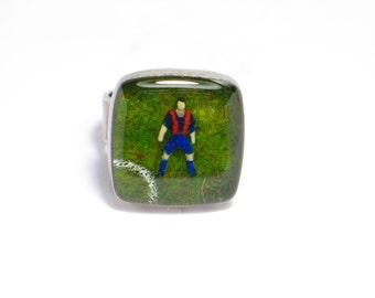 Barça lovers. FC Barcelona. Messi. Neymar. soccer, football, Resin ring. Modern jewelry. Adjustable ring. Square resin ring.