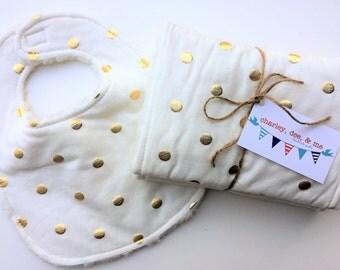 Gold Polka Dot Cream Burp Cloth Set Bib and Burpee Shower Gift for Baby Girl, Glitter Metallic, Free Shipping, Chic Baby Gift