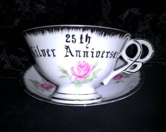 Cup & Saucer 25th Silver Anniversary