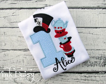 Alice in Wonderland Birthday Shirt - Alice in ONEderland - Tea Party - Black Blue Red - Teacups - Mad Hatter - Tea for TWO - First Birthday
