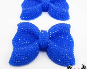 2 pc FAUX RHINESTONE Blue BOWS Large Flatback Resin Decoden Kawaii Cabochons 52x40mm, Blue bow cabochons, rhinestone bows