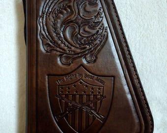 IN STOCK Leather Pistol Case with Hand Tooled Oak Leaf Pattern, Custom Pistol Case, Zippered Medium Size Pistol Case