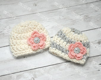 Twin girls hats, twin girl hats, newborn twin hats, twin hats, crochet twin hats, hats for twins, newborn twin girls hats