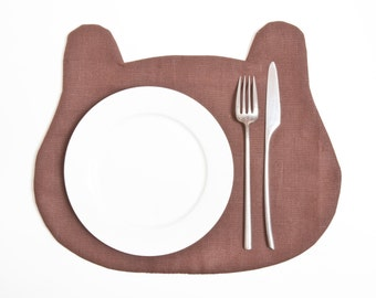 Linen Placemat, Bear Fabric placemat, Brown Kitchen Decor, Baby Shower Favors, Table Mats, Gift for Boyfriend, Table Linens