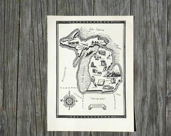 Michigan Map Print  / Vintage Map of Michigan / 1950s America Book Page / Travel Decor / Michigan State Map Wall Art / Scrapbook Paper