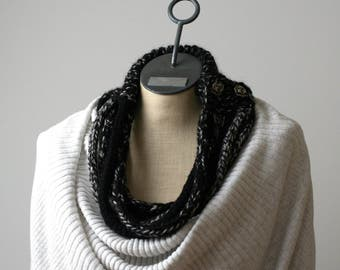 Ready to Ship: I-Cord Necklace - Hand Knit Scarf - Wool Infinity Scarf - Black Scarf - Button Scarf - I-Cord Scarf - Black and White Scarf