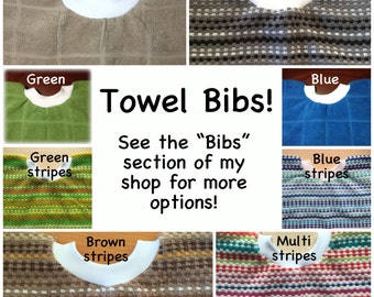 1 Towel bib - BULK DISCOUNT - girl boy - dish towel baby bib dish towel - kitchen towel bib, wholesale blue brown tan green grey stripe