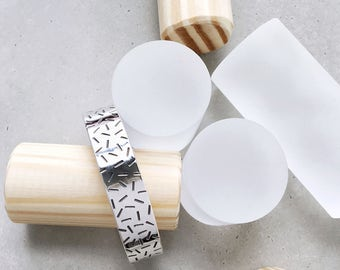 Confetti Cuff Bracelet / sterling silver / donut sprinkles / memphis pattern bangle