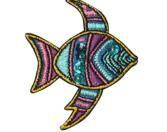 ID 0209 Tropical Fish Emblem Patch Shiny Sequin DIY Fishing Iron On Applique