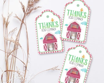 Farm Favor Tags - Farm Party - Barnyard Party - Farm Birthday