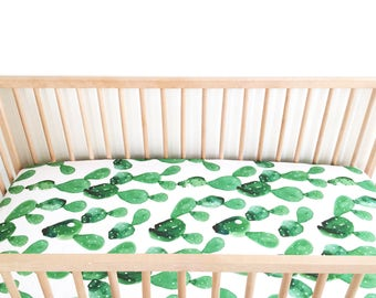 Crib Sheet Watercolor Cactus. Fitted Crib Sheet. Baby Bedding. Crib Bedding. Minky Crib Sheet. Crib Sheets.