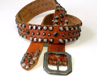 Vtg OLD STUD Handmade Leather BELT Metal and Gem Studded Strap Old Stud Made In Los Angeles UsA 30-35in Ex Cond