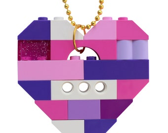 "Kawaii Pink and Purple necklace - Chunky heart pendant - made from LEGO (R) bricks on a 24"" Silver/Gold plated ballchain"
