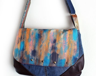 Painted Purse Crossbody Messenger Bag Studded Upcycled Denim Faux Leather Handmade Unique