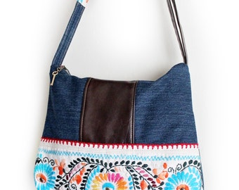 Upcycled Mexican Embroidered Bag with Denim and Faux Leather Zippered Purse Handmade Unique