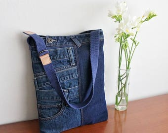 Patchwork Jeans Tote Bag Upcycled Denim Purse Unique Handmade Ecofriendly