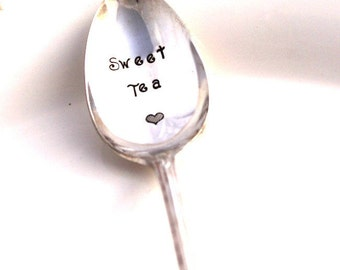 Spoon Hand Stamped Iced Tea Spoon - SWEET TEA - Silverware Beverage Spoon - London Town/Enchantment 1952 - Ready To Ship - Made in USA