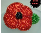 Poppy Brooch - Beaded Poppy Flower Pin - Remembrance Day Gifts - Made to Order - Gift for Her - Red Poppy Jewellery - Poppy Day 2017
