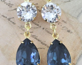 Navy Earrings Gold Earrings Navy Blue Earrings Pear Shaped Earrings Vintage Earring Style Swarovski Crystals Gift Avail as Clip On Earring