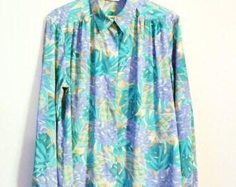 Tropicalia Vintage Pineapple Blouse in Aqua Blue Mint Green / Vintage Secretary Blouse / Retro Tropical Island Floral Blouse