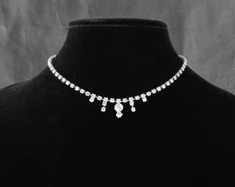 Bridal Rhinestone choker, vintage clear Rhinestone silver tone choker necklace