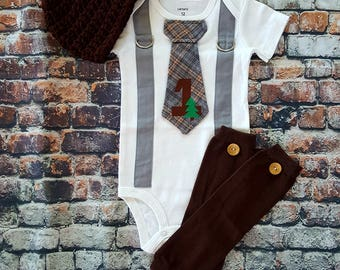 READY TO SHIP Baby tie and Suspender bodysuit -  1st First Birthday - Button Leg Warmers - Newsboy Hat - Size 12 Months