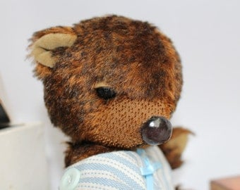Mohair Artist Teddy Bear Copper & Brown Fur Jointed Collectable