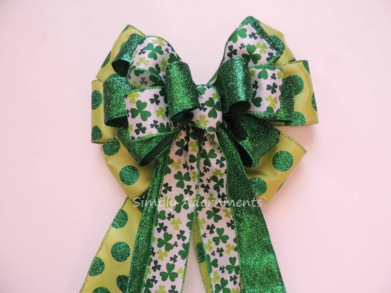 Saint Patrick's Party Decor St. Patrick's Wreath Bow Emerald Lime Irish Shamrock Bow St Patrick door hanger bow Shamrock Wreath Bow Gift Bow