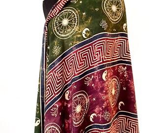 Large Vintage Fringe Rayon Scarf / Shawl - Boho Style