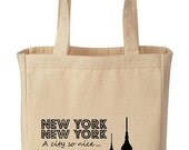 New York, New York - A City So Nice They Named It Twice Cotton Canvas Tote - Eco Friendly Reusable Grocery Bag