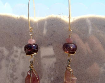 Pink Tourmaline Crystal Earrings