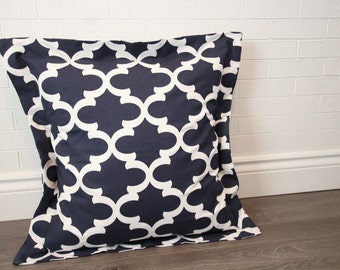 """26x26"""" Navy and White Moroccan Lattice Euro Sham with 2"""" Flange"""