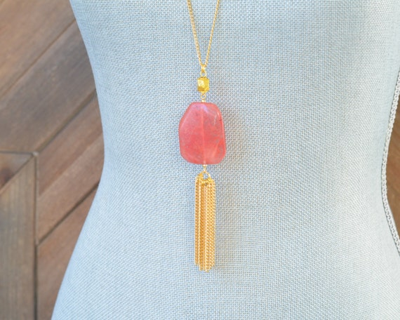 Long Tassel Necklace - Chain Tassel Necklace - Long Fringe Necklace - Stone Tassel Necklace - Cherry Quartz Necklace - Coral Pink Necklace