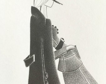 fashion illustration / original pencil drawing / mod decor