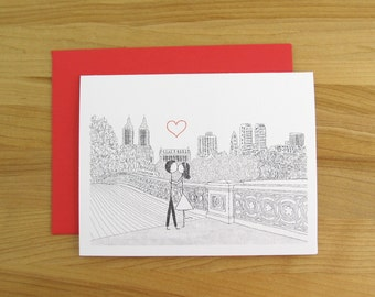 Canoodle Doodle No. 38 - Bow Bridge Central Park // Romantic Valentine Birthday Anniversary Engagement or Bridal Shower card for Him or Her