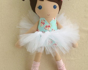 Fabric Doll Rag Doll Brown Haired Girl in Pink and Mint Green  Floral Dress with White Tutu and Pink Leg Warmers