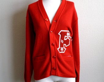 Vintage Red Letterman Sweater – Varsity Sweater - Bright Red – 60s Sweater – Womens Sweater – Mens Sweater - Made USA – Mens S - Womens M-L