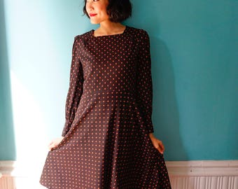 Vintage Dress, 1980s Dress, Vintage Japanese Dress, Vintage Womens Dress, Summer Dress, Boho Dress, 80s Dress, Polka Dot Dress, Chevron