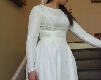 Handmade Vintage Empire Line Wedding Dress, Ivory. Size 10/12