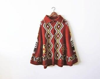 Vintage Cape / Southwestern Cape / 70s Cape / Bohemian Fashion / Vintage Poncho / Aztec Sweater / Southwest Jacket / Geometric Print