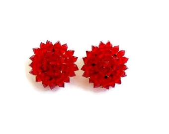 Red Clip On Earrings Faceted Rhinestone Beads Small Petite Round, Vintage Earrings with Gold Clip Backs