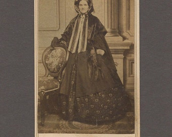 Early CDV of a Beautifully Dressed Woman ~ Fur