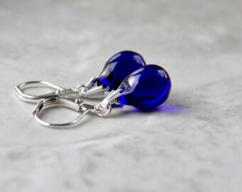 Deep Blue Earrings, Ink Blue Drop Earrings, Glass Bead Jewelry, Cobalt Blue Earrings, Lever back Earrings, Teardrop Earrings, Gift for Women