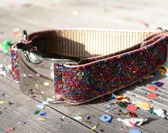 Unicorn Dog Collar - Sparkly Multi-Color Rainbow Dog Collar, Trendy, Unicorn, Adjustable Dog Collar with Metal Hardware