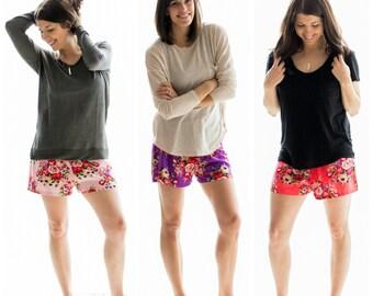 Floral Pajama Shorts, Bridesmaid Gift,Bridesmaid Proposal,Bridesmaid Pajamas,Bridesmaid Robe,Wedding Shower Gift,Bridal Shower Gift,Cute PJs