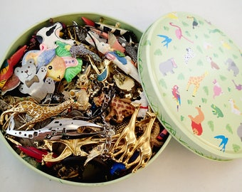 FREE Shipping Destash Animal Theme 2.5 pound Jewelry Lot Tin Vintage Broken Parts Repurpose Crafters Project charms Enamel Brooch Pins Set 3
