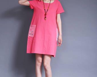 cotton dress linen dress cotton maxi dress Irregular dress short sleeves dress large pockets in color pink
