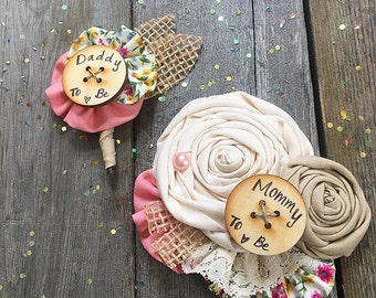 Rustic Mommy to be Pin // Mama to be, Bride to be Burlap Brooch // Custom Made